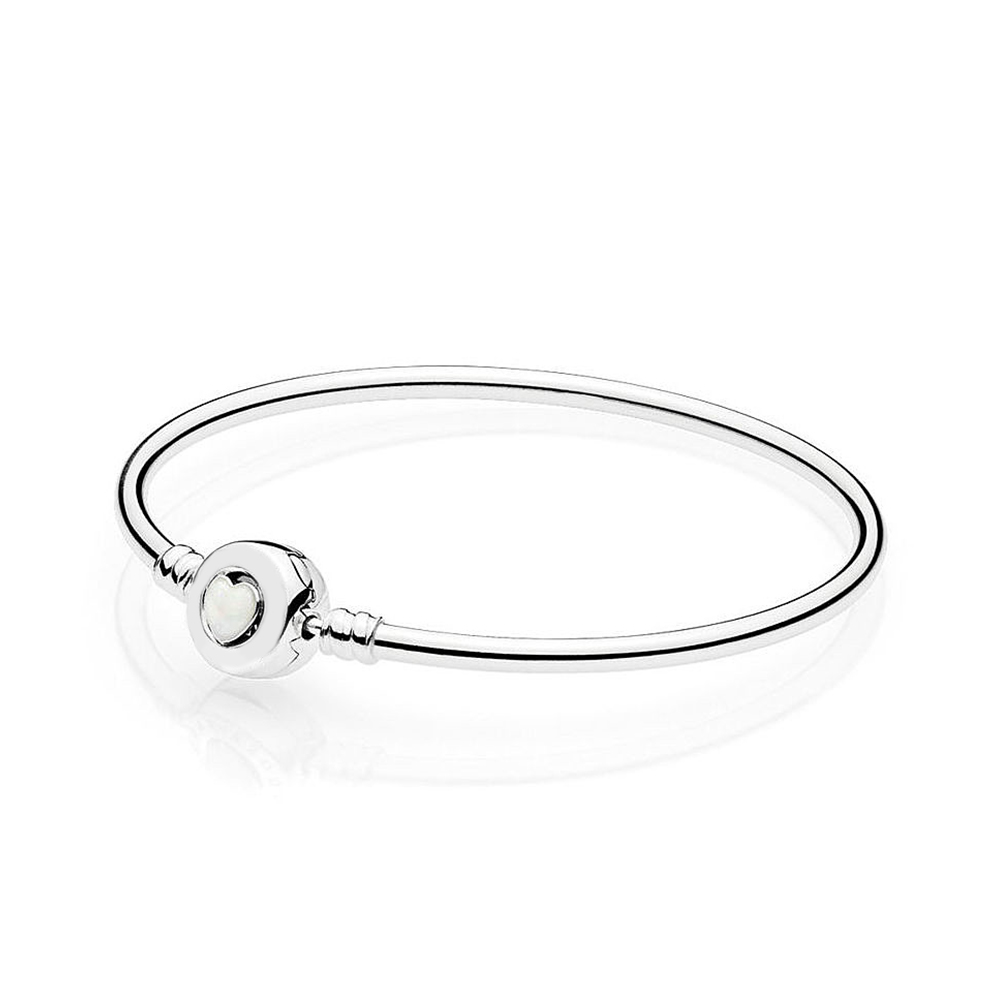2018 New 100% 925 Sterling Silver Bracelet Moments Silver Bangle Loving Heart Clasp Fashion Women DIY Gift Jewelry2018 New 100% 925 Sterling Silver Bracelet Moments Silver Bangle Loving Heart Clasp Fashion Women DIY Gift Jewelry