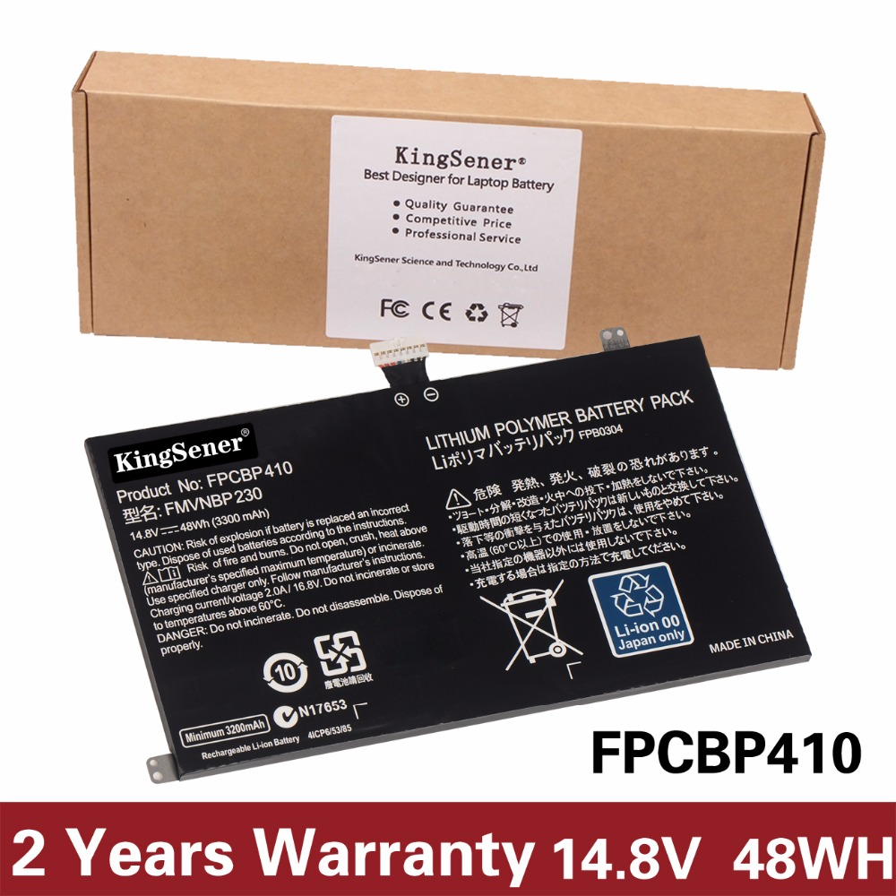 KingSener New FPCBP410 Battery for Fujitsu LifeBook UH554 UH574 FMVNBP230 FCBP0304 14.8V 48WH/3300mAh Free 2 Year Warranty 10 8v 5800mah original new fpcbp179 battery for fujitsu lifebook s6420 s6421 s6410 s6520 s6510 s7210 s7220 fmvnbp160 fpcbp179ap