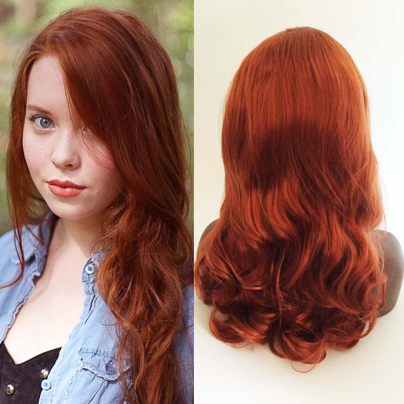 Rich Copper Red Body Wavy Synthetic Lace Front Wig African American
