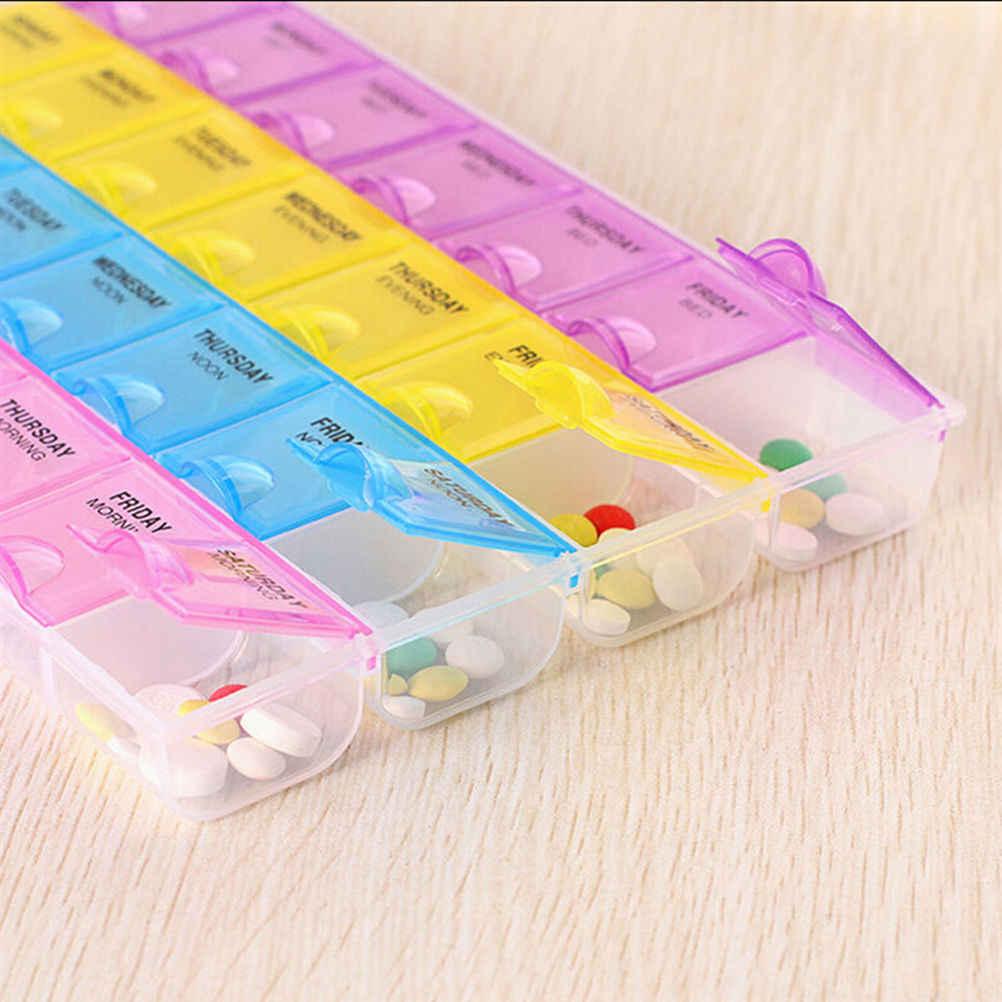 7 dag Pil Geneeskunde Tablet bunker Dispenser Organizer Case met 28 vakken pillendoosje multicolor container voor geneesmiddelen