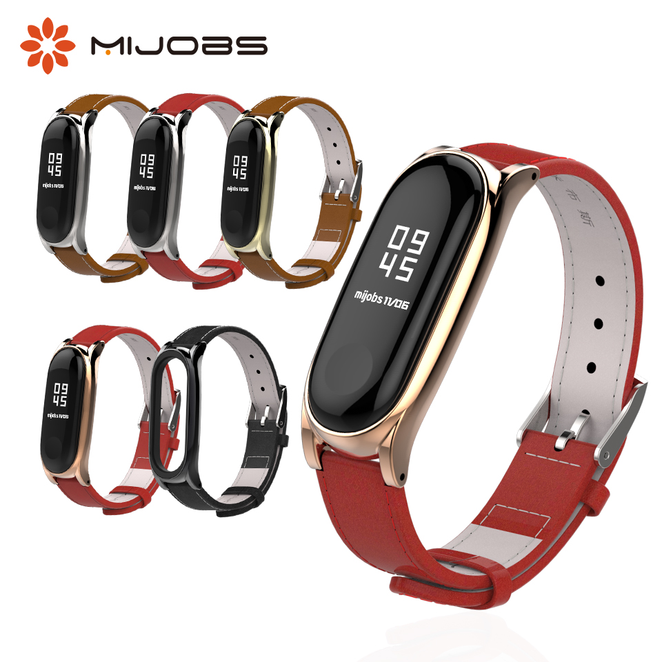 Mijobs Mi Band 3 Genuine Leather Strap for Xiaomi Mi Band 3 Bracelet Wristband Smart Watch