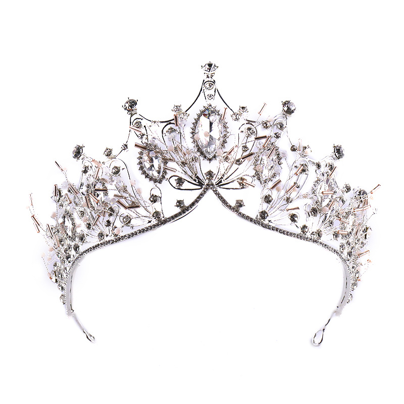 Big Baroque Rhinestone Crystal Beaded Headband Tiara Tea Party Bride Crown Luxury Wedding Korean Hair Jewelry LB
