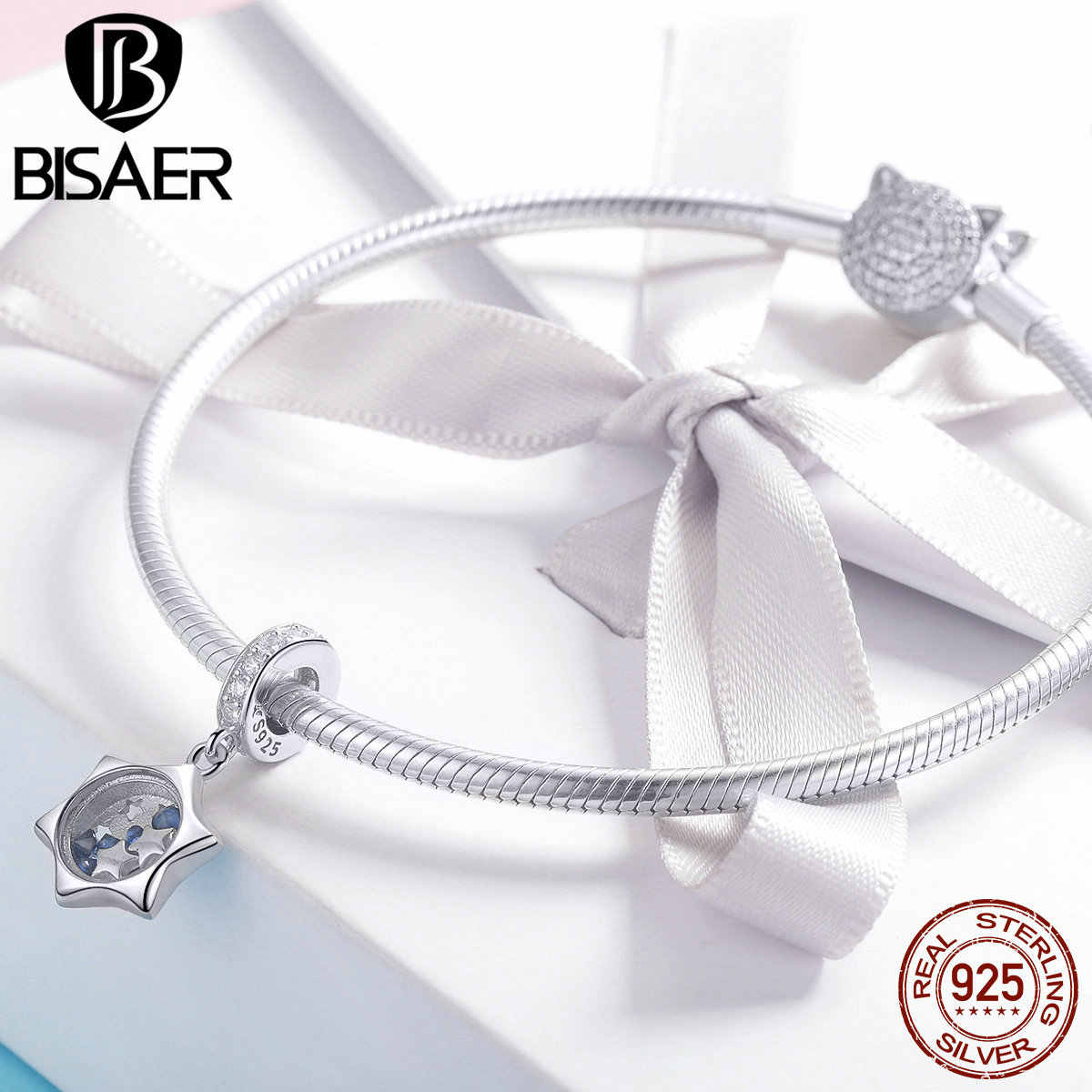 BISAER 925 Sterling Silver Blue Cubic Zirconia Stone Stone Pendant Charm for Women Jewelry Making Bracelet or Necklace GXC1083