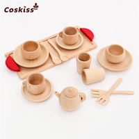 Wood Beech Baby Cutlery Cup Tray Baby Gift Set Portable Wooden Montessori Toy Inspired Toddler Pretend Play Kitchen Beads