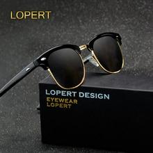 LOPERT Retro Rivet Polarized Sunglasses Men Women Classic Brand Designer Glasses Unisex Sun Fashion Male Eyewear De Sol