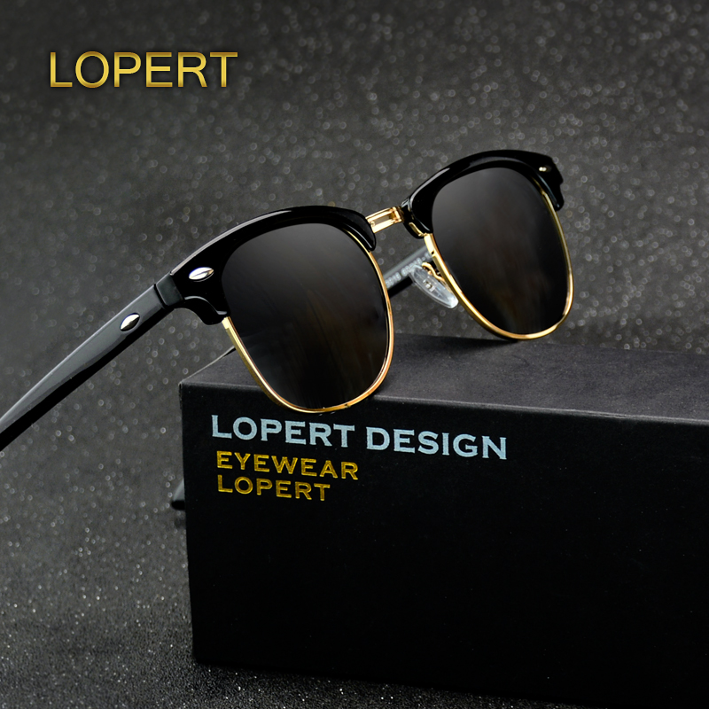 LOPERT Retro Rivet Polarized Sunglasses Men Women Sun Glasses Classic Brand Designer Unisex Glasses Fashion Male Eyewear De Sol