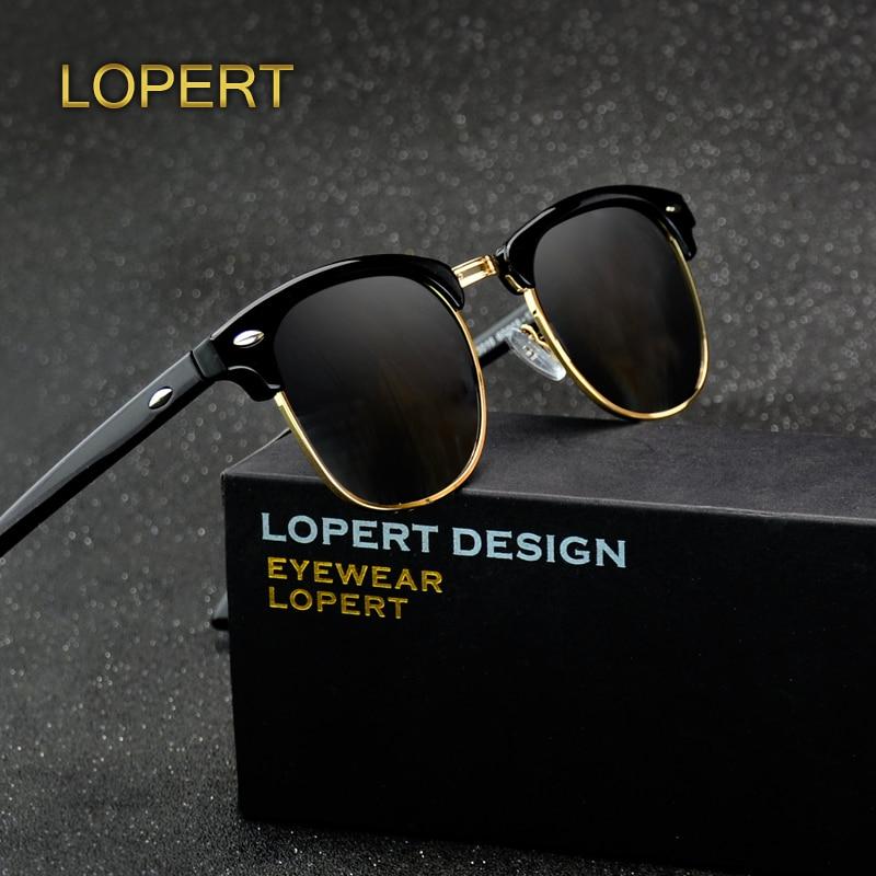 LOPERT Retro Rivet Polarized Sunglasses Men Women Sun Glasses Classic Brand Designer Unisex Glasses Fashion Male Eyewear De Sol