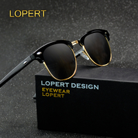 LOPERT Retro Rivet Polarized Sunglasses Men Women Classic Brand Designer Glasses Unisex Sun Glasses Fashion Male