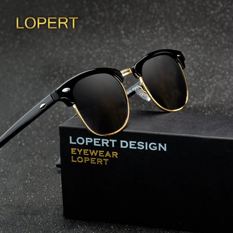 LOPERT remache Retro polarizado gafas De Sol hombres mujeres gafas De Sol clásico marca diseñador Unisex gafas De hombre gafas De Sol