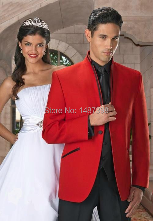 2016 red Men Suits prom single breasted top collar with trim Tuxedo ...