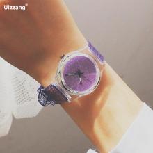 Милые прелестные модные туфли Bling Ясно Мягкие резиновые Кварцевые наручные часы для девочек Для женщин студентов