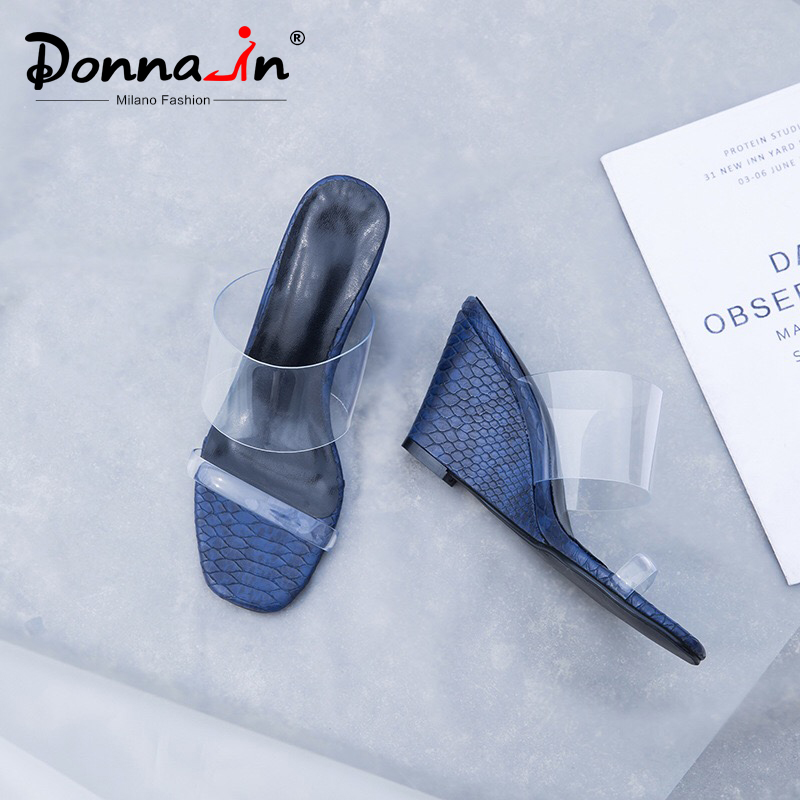 Donna in Clear Slippers Women Wedges High Heels Transparent Jelly Fashion Shoes for Women Open Toe