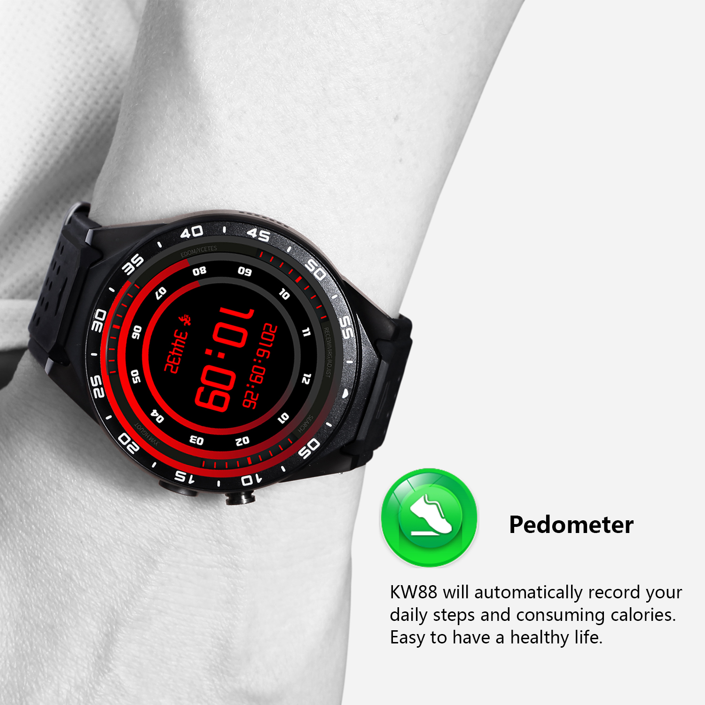 kw88 font b Android b font 5 1 Smart Watch 512MB 4GB Bluetooth 4 0 WIFI