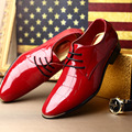 Luxury Men Red Dress Shoes Fashion Pointed Toe Lace Up Charm Black Patent Leather Shoes For Man Leisure Groom Wedding Shoes