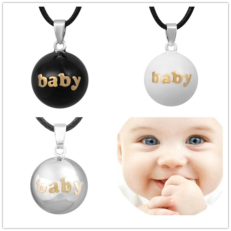 3N14NB-A 3PCS/lot Lovely Baby Angel Caller Pendant Harmony Bola White Black Plain Bola Pendant Necklace for Pregnant