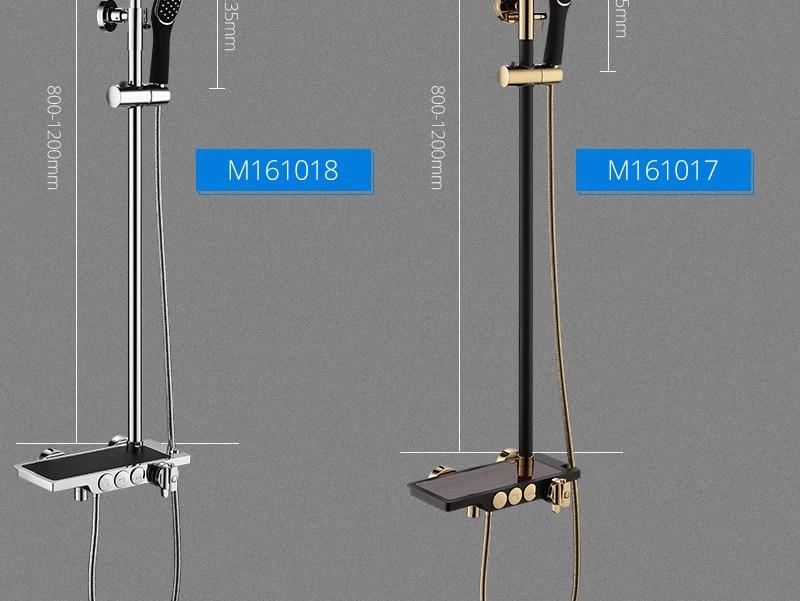 hm Black Rainfall Thermostatic Shower Faucet Set Single Lever Brass Mixer Valve Rack Bath Shower Mixers Rack shower set (7)