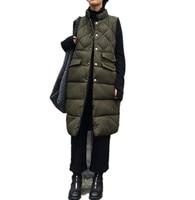 2017 New Fashion Casual Long Warm Sleeveless Loose Coat Long Cotton Parkas Women Vest