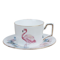 bone china Flamingos coffee cup and saucer set home soft fitting sample room decoration Pink theme farmhouse style tea cup