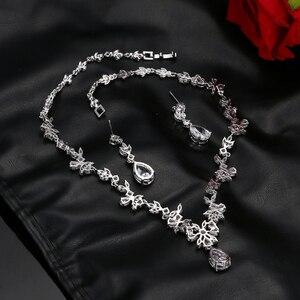 Image 4 - EMMAYA ensemble de bijoux avec pierres CZ AAA, magnifique ensemble de bijoux pour femmes, fleurs en cristal blanc, fête, mariage, fête