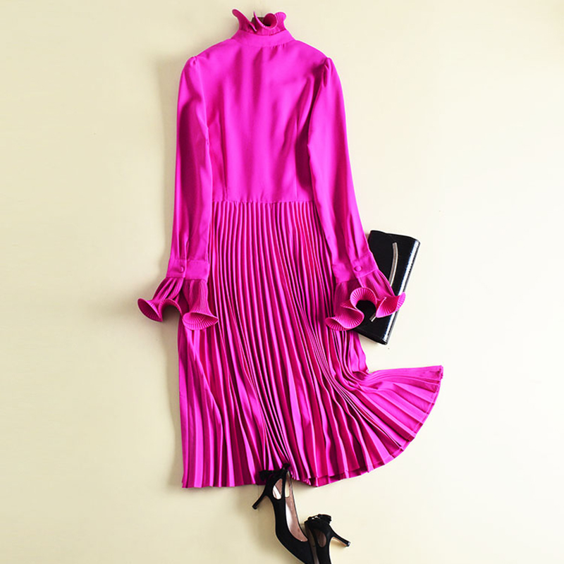High Quality 2018 New Fashion Runway Designer Women's Flare Sleeve Roffled Collar Midi Pleated <font><b>Fuchsia</b></font> <font><b>Dress</b></font>