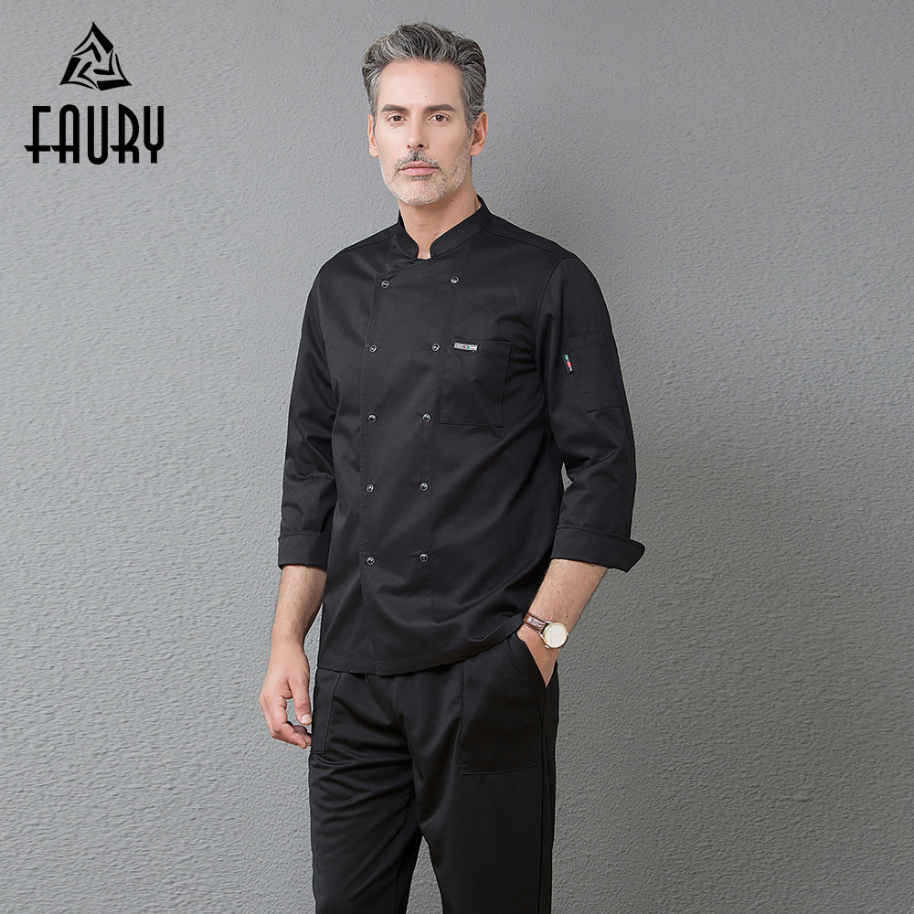 Chef Cuisinier Kitchen Work Jackets Long Sleeve Double Breasted Cocina Restaurant Cooking Uniforms Food Service Coat Overalls