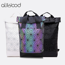 Aliwood Women Backpack Luminous Geometric Backpack For Teenage Girls Plaid Sequin Holographic Diamond Backpack Mochila Feminina new laser luminous small women leather backpack school bags for teenage girls mochila women foldable geometric backpack