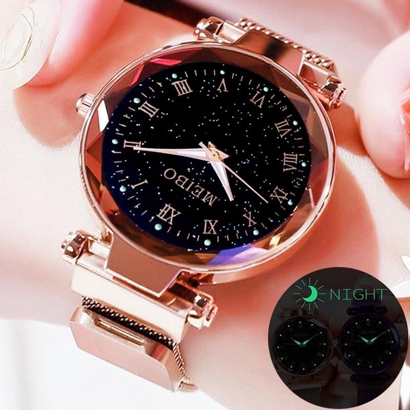 Relogio Feminino Fashion Women Starry Sky Watches Magnetic Mesh Belt Watch Women Dress Luminous Quartz Wristwatch Zegarek Damski