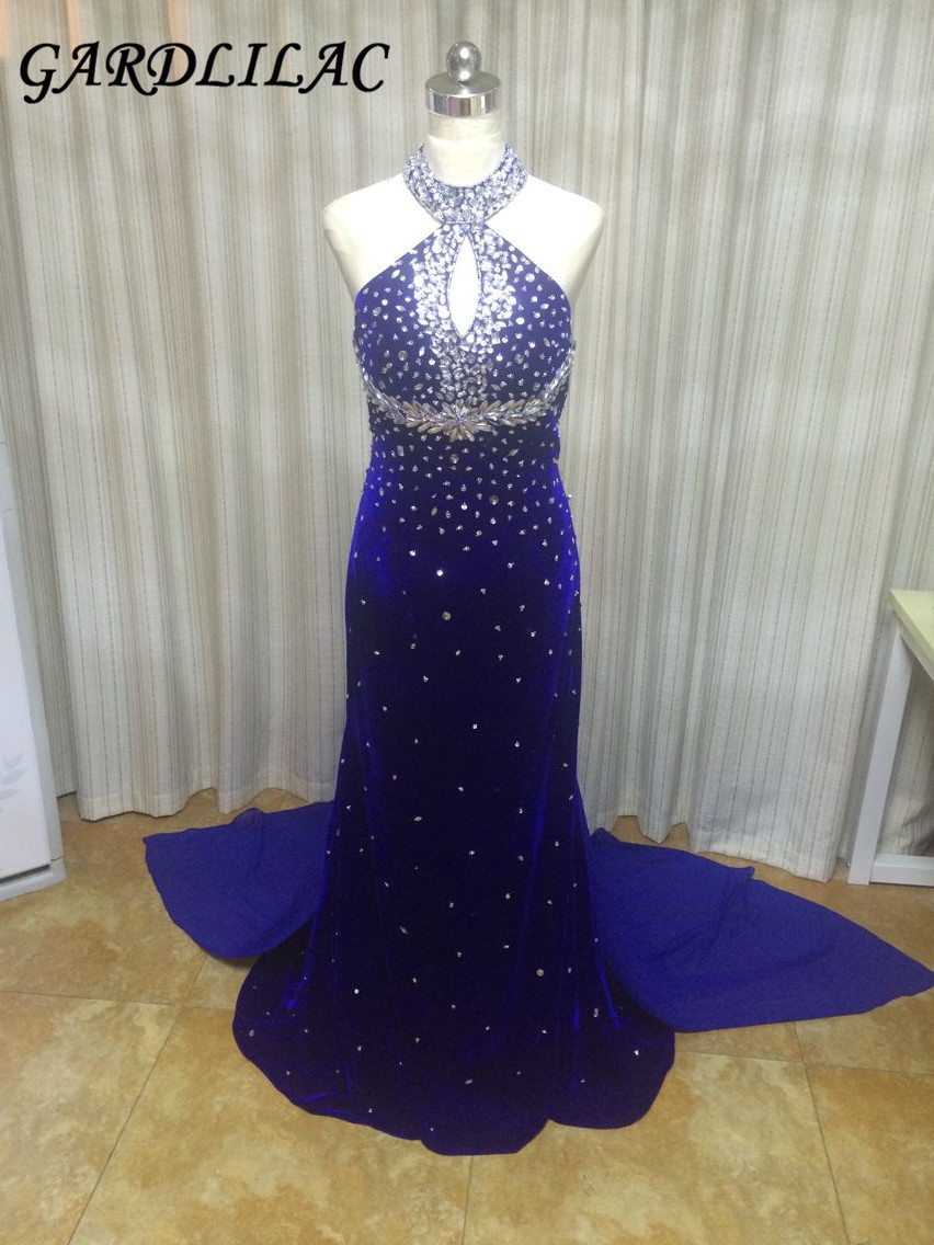 Velours Gardlilac Halter Crystals Sirène Robe De Bal Royal Blue Robes De Soirée De Bal 100% Real Photo Robe De Fête Formelle