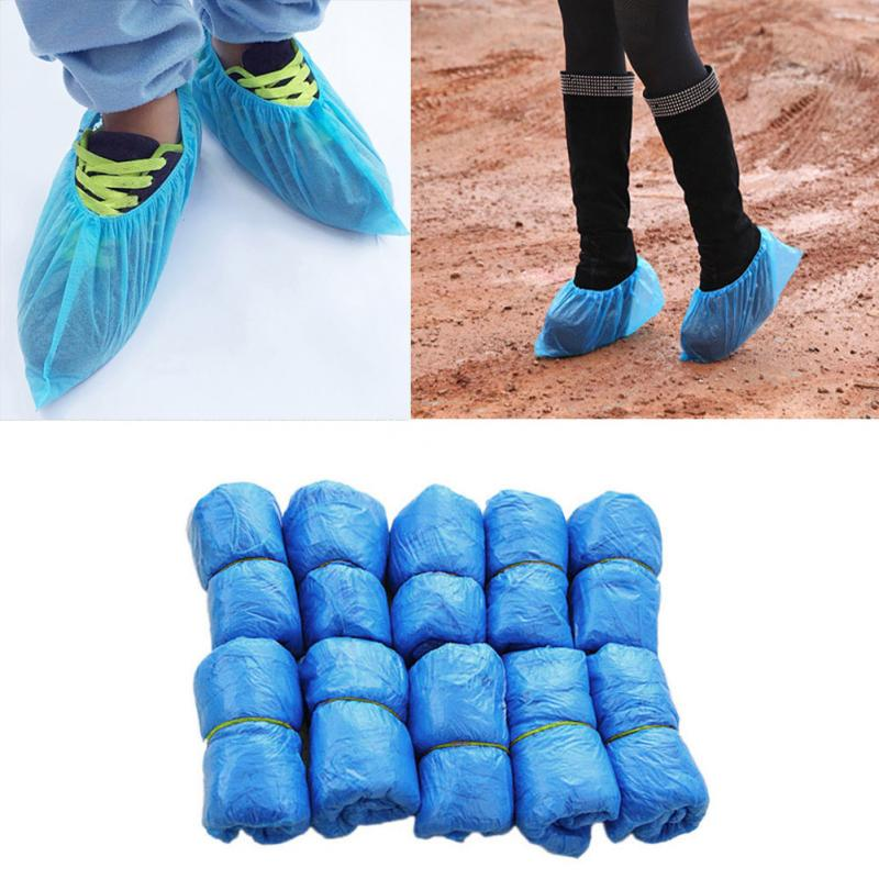 Plastic Disposable Shoes Covers 100PCS High-Top 5 Pairs Low-Top Women Man Rainy Day Anti-Slip Shoe Accessories#137