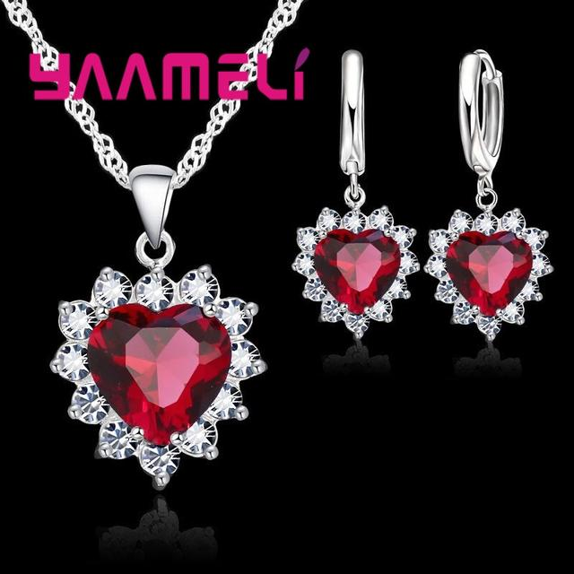Heart Shape   Crystal Earring Necklace Pendant Rhinestone