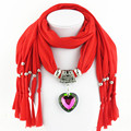 Solid 6 Colors Scarf Female Tassels Scarves New Accessories Autumn Women Polyester Scarf Shawl Heart Alloy
