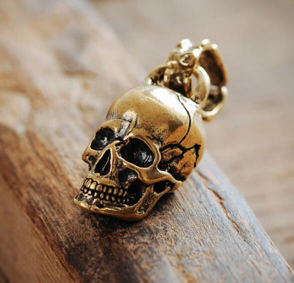 Brass Skull Pendant Necklace Fashion DIY Accessories Chain Beads Tee Joint