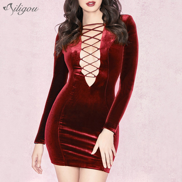 121e7db0f4 Ailigou 2018 Winter New Women Dress Long Sleeves Black Red Dress Sexy Bodycon  Lace Up Celebrity Party Dresses Vestidos Wholesale