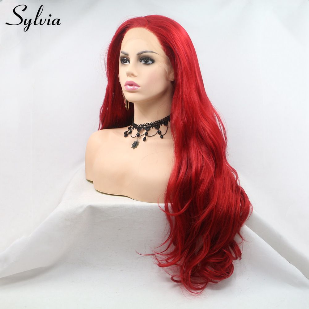 Sylvia Long Hair Red Color Wavy Synthetic Lace Front Wig For Women Side Part Heat Resistant Glueless Cosplay Wigs Makeup Wedding