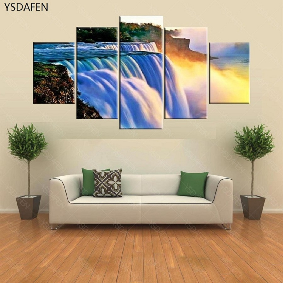 Frameless 5 pieces niagara falls landscape oil paintings posters framed wall artwork room decor landscape poster on canvas wall