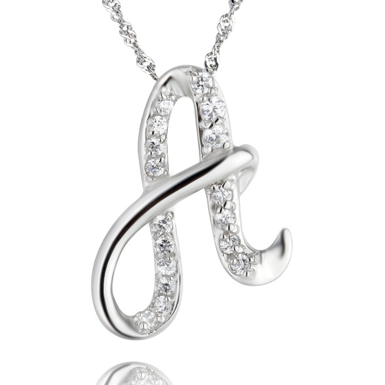 Newest silver crystal a z letter necklace charm initial alphabet newest silver crystal a z letter necklace charm initial alphabet pendant necklaces for girlfriend gift in pendant necklaces from jewelry accessories on aloadofball