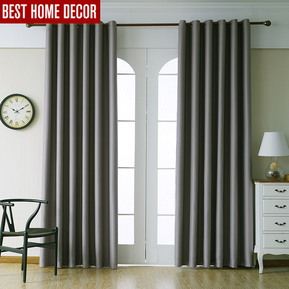 Modern Blackout Curtains For Living Room Bedroom Curtains For Window Drapes  Grey Finished Blackout Curtains 1