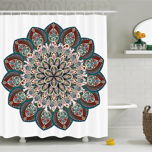 Mandala Decor Shower Curtain Authentic Circular Asian Universe Figure With Victorian Lines And Ornaments Image Bathroom Se