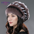 Women fur hat for winter natural rex rabbit fur cap with wool lining warm knitted fur beret for elegant lady