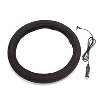 15inch Black 12V Universal Winter Auto Heated Steering Wheel Cover Heater Electric Car Lighter Plug Car