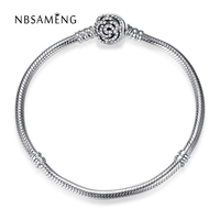 2018 New Authentic 925 Sterling Silver Beauty And The Beast Bangle With Belle's Enchanted Rose Clasp Fit Pan DIY Jewelry