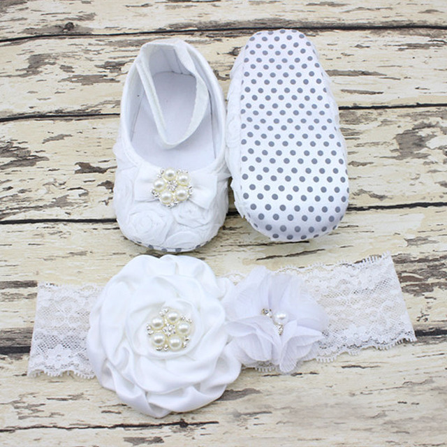 e584c9214 0-12 Months Newborn Baby Girl Shoes white baptism Toddler Infant Fabric  Booties Flower Headband Set Pearls Lace Princess KU31