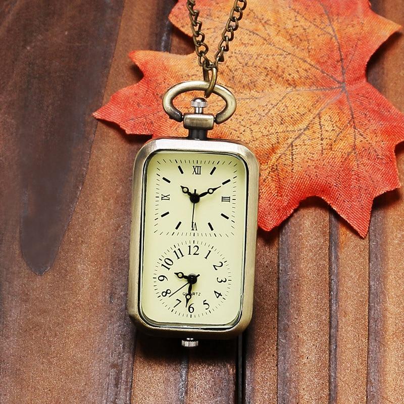 Vintage Bronze Dual Double Time Zone Rectangle Pocket Watch Quartz Movement Women Ladies Dress Watches Necklace Gift P11