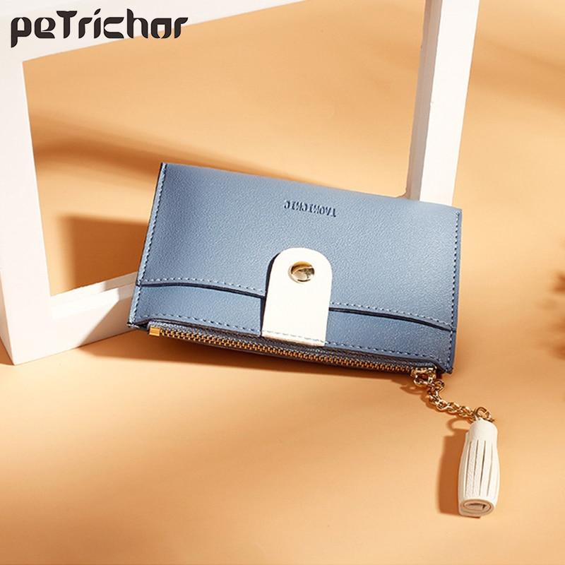 Luxury Brand Leather Small Wallets Women Short Zipper Coin Purse Tassel Design Clutch Wallet Female Money Bag Credit Card Holder