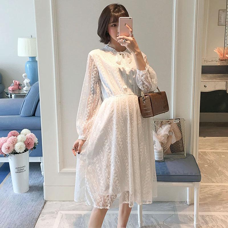 1026 # милое белое кружевное платье для беременных 2019 весна лето Модная одежда для беременных элегантная облегающая Одежда для беременных