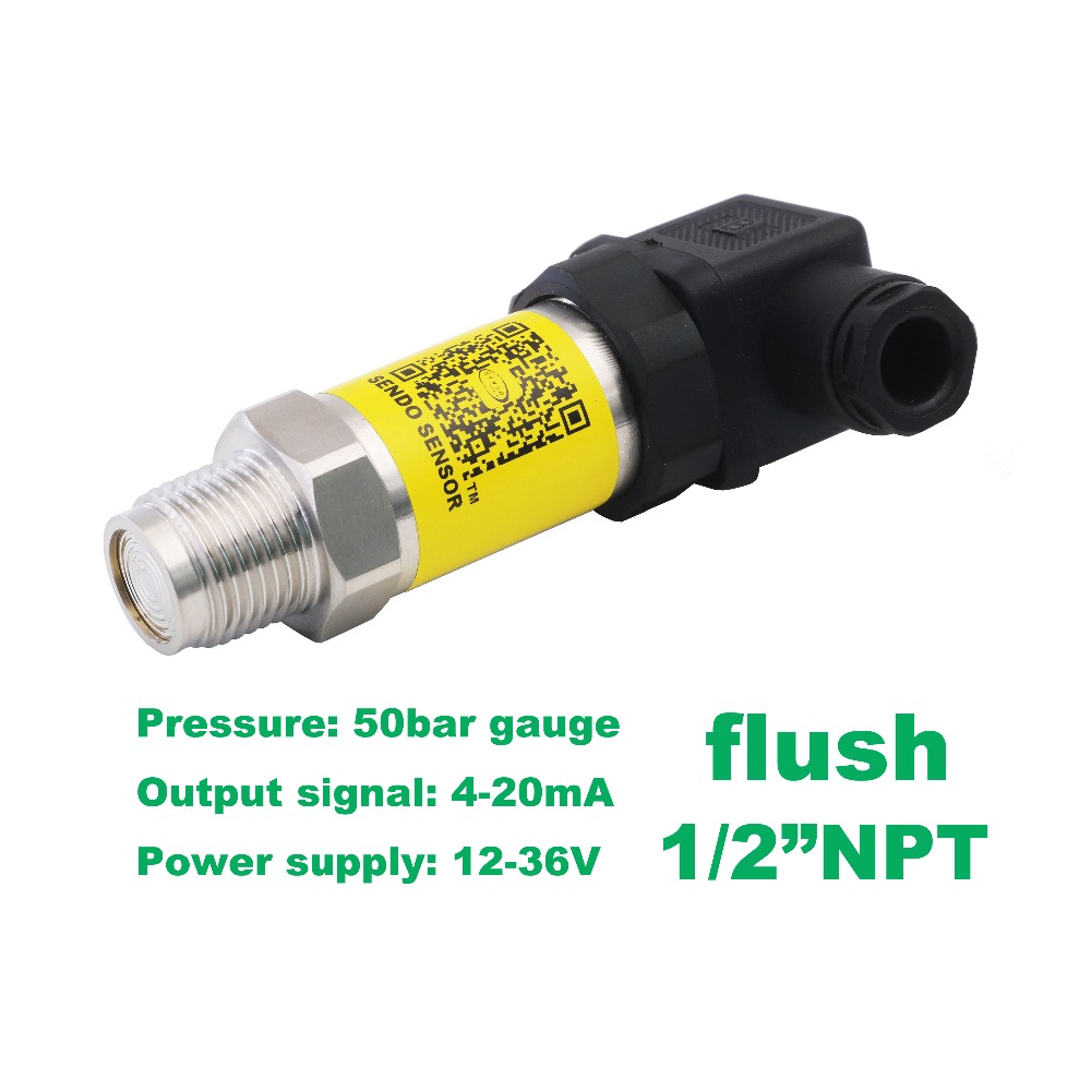 flush pressure sensor 4-20mA, 12-36V supply, 5MPa/50bar gauge, 1/2NPT, 0.5% accuracy, stainless steel 316L wetted parts 0 10v flush pressure sensor 15 36v supply 5mpa 50bar gauge g1 2 0 5