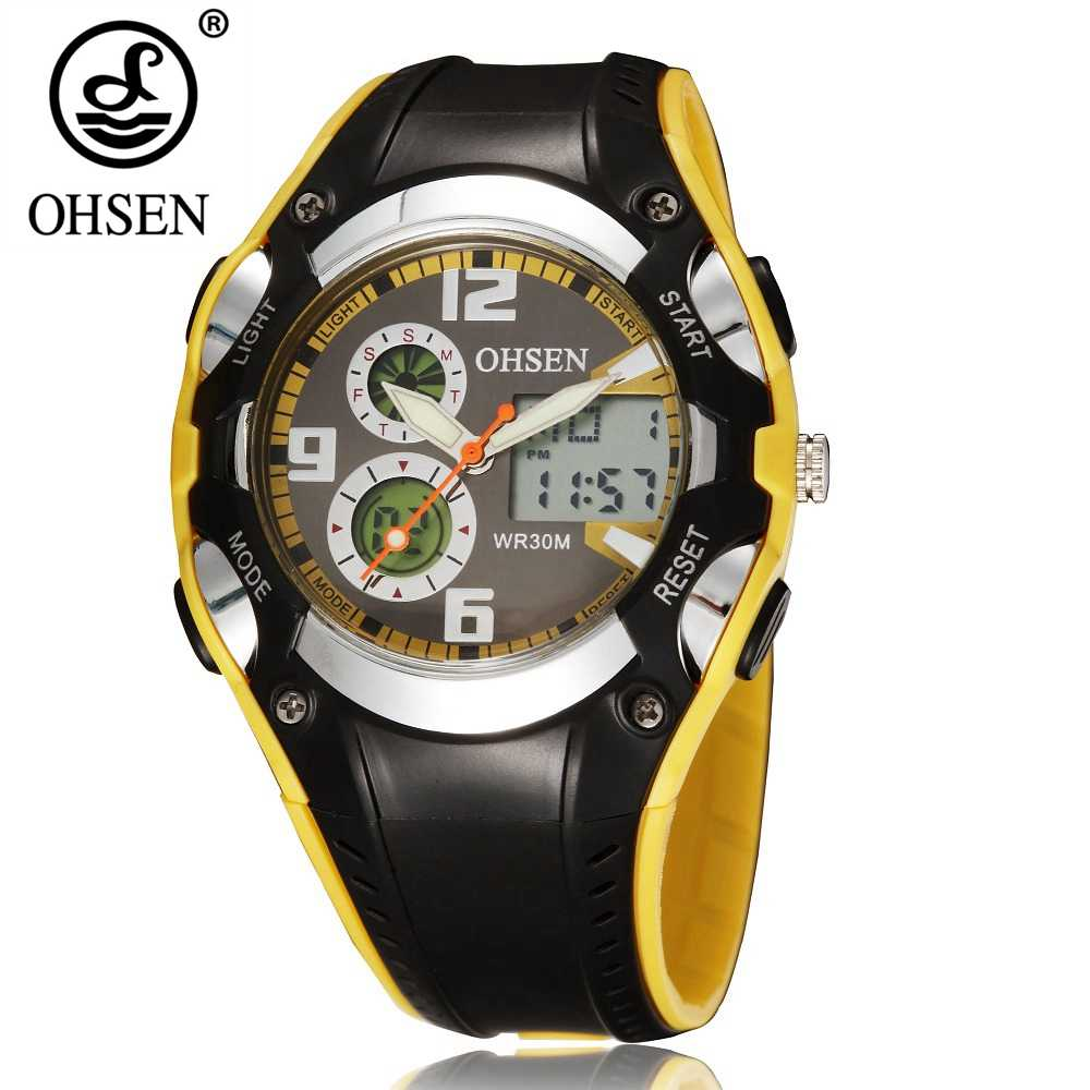 OHSEN Digital Quartz Women Wristwatches Yellow Rubber Band Alarm Date Function Fashion LCD Waterproof Ladies Analog Watch Gifts