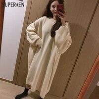 SuperAen Automne et D'hiver Nouveau Long Pull Robe Femmes Style Coréen Lâche Manches Chauve-Souris Chandail Robe 2017 Mode Coton Robe