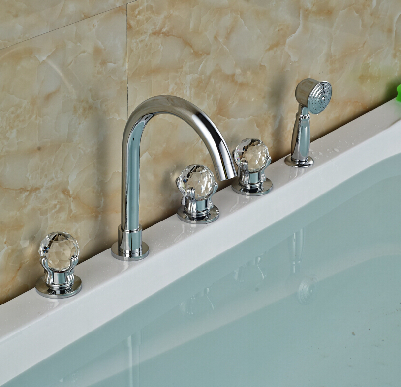 Luxury Chrome Brass Bathroom Tub Faucet Spout Deck Mounted Sink Mixer Tap W/ Hand Sprayer Mixer Tap Hot and Cold Water newly solid brass 4pcs bathroom tub faucet set chrome finish mixer tap shower tap w brass hand shower sprayer deck mounted