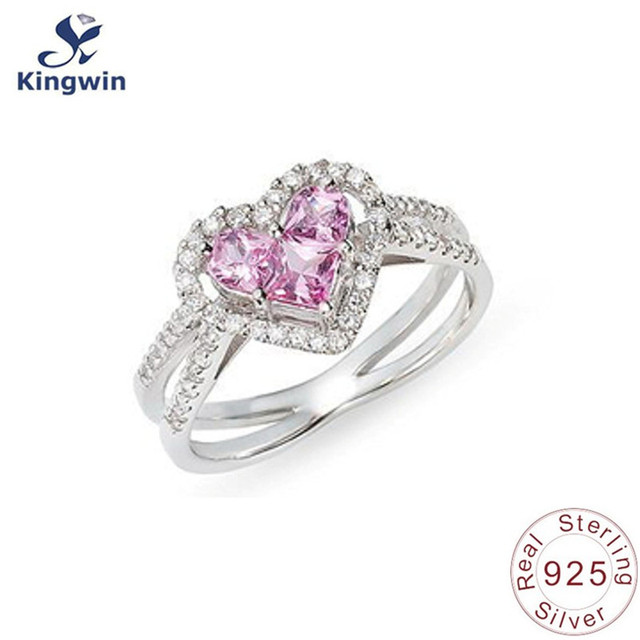 En forma de corazón Rosa anillo de compromiso sólido 925 anillos de ...